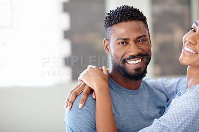 Buy stock photo Cropped shot of a handsome man and an attractive female