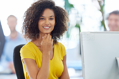 Buy stock photo Portrait of an attractive young businesswoman working at her office desk