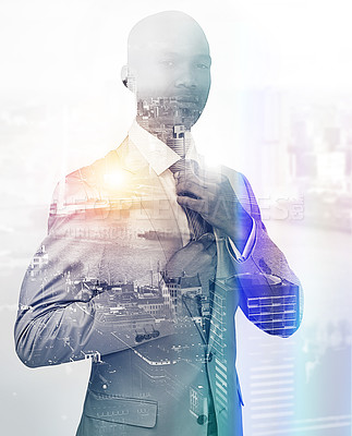 Buy stock photo Portrait of a handsome businessman superimposed over a cityscape