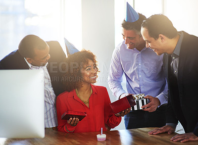Buy stock photo Shot of a coworkers having a office birthday party