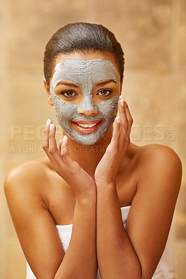 Buy stock photo Cropped shot of a young woman enjoying a skincare treatment at the spa