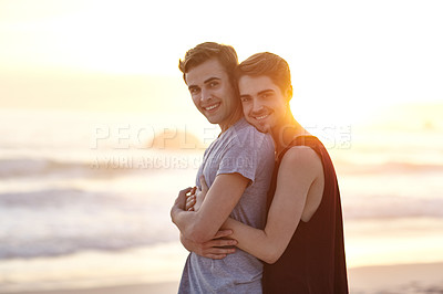 Buy stock photo Portrait of a loving young couple at the beach