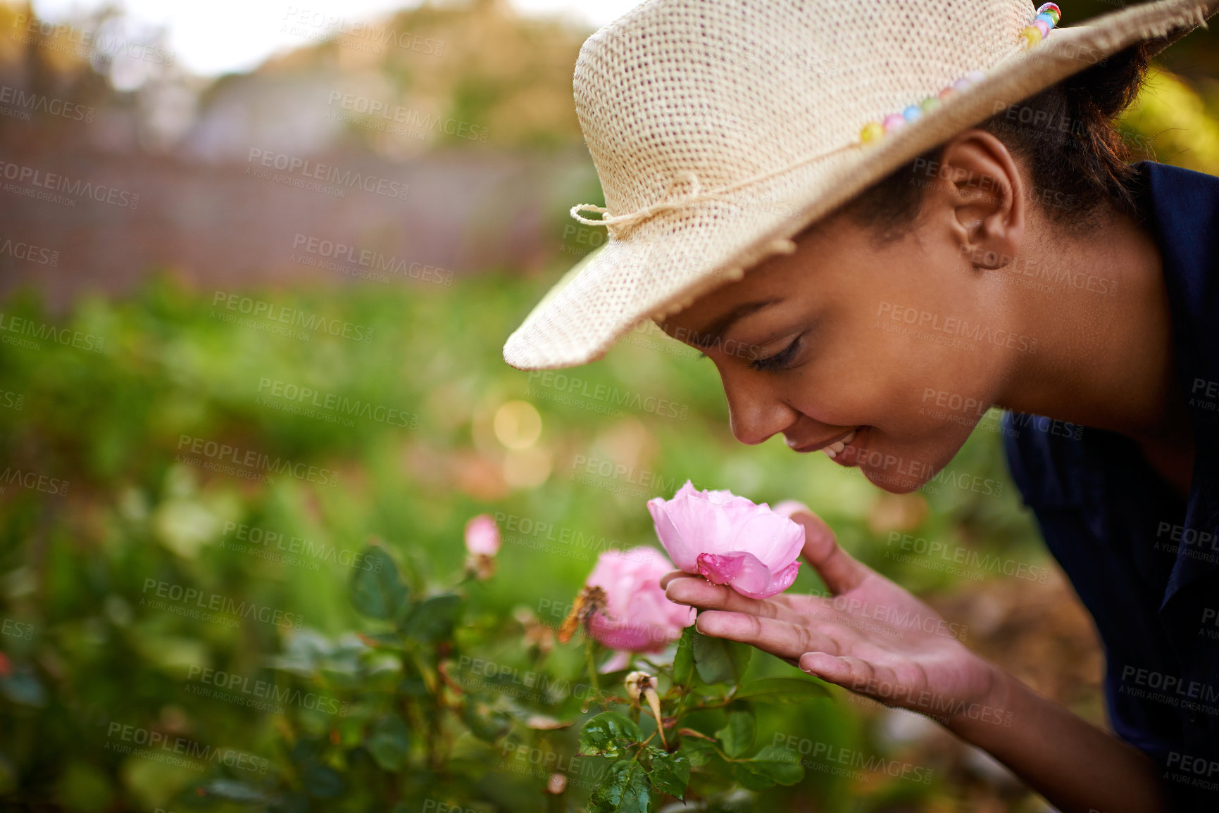 Buy stock photo Shot of a young woman admiring the roses in her garden