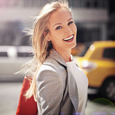 Buy stock photo Shot of a young businesswoman traveling