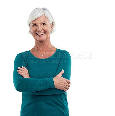 Buy stock photo Studio shot of a senior woman isolated on white