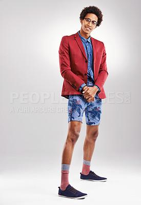 Buy stock photo Studio shot of a stylishly dressed young man