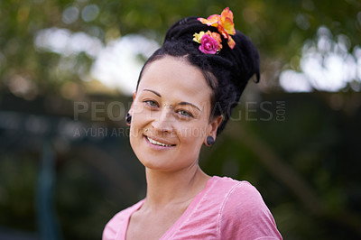 Buy stock photo Cropped portrait of a woman standing outside
