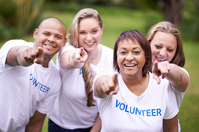 Buy stock photo Cropped shot of a group of volunteer workers outside