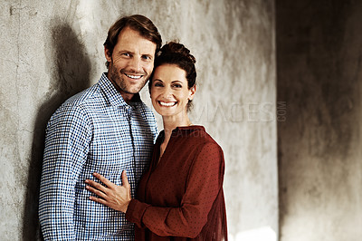 Buy stock photo Studio portrait of a happy couple