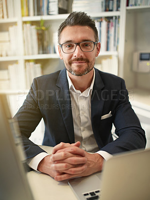Buy stock photo Portrait of a businessman in his office