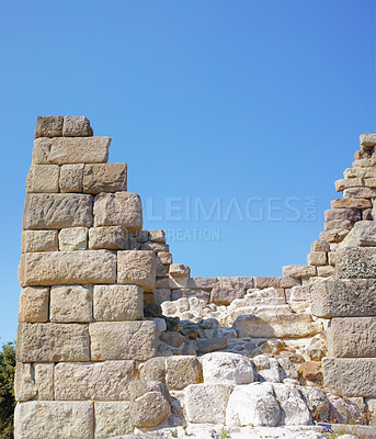 Buy stock photo Myndos Gate in the old city wall (now Bodrum)- dates from 364 B.C. The 7 km long city wall surrounds the town from the west side of the harbor to Goktepe. Castles at Salmakis to the west and Zephyrion to the east mark the junction of the city wall and the harbor.