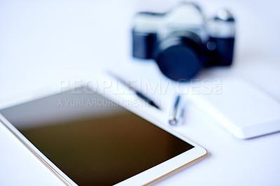 Buy stock photo High angle shot of a photographer's desk