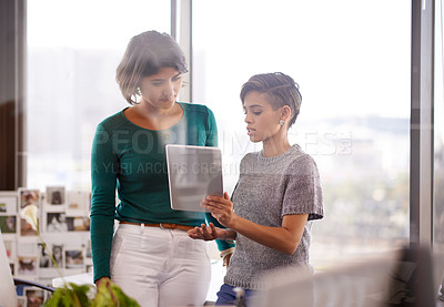 Buy stock photo Cropped shot of two businesswomen working in the office