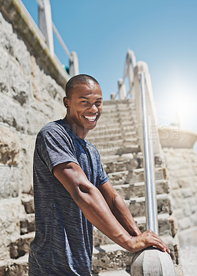 Buy stock photo Portrait of a young sporty man standing outside