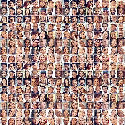 Buy stock photo Composite image of a large group of diverse people smiling