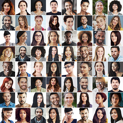Buy stock photo Composite image of a diverse group of smiling people