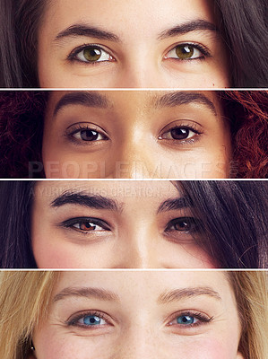 Buy stock photo Composite image of an assortment of people's eyes