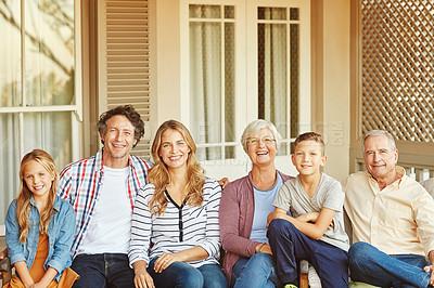 Buy stock photo Portrait of a happy three generational family