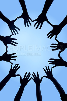 Buy stock photo Cropped shot of a group of hands spread out together in a circle
