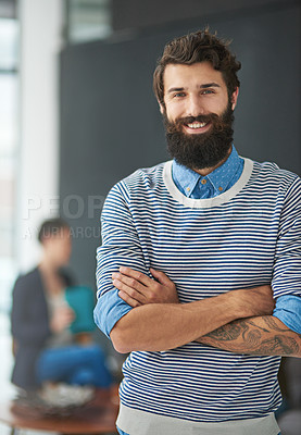 Buy stock photo Cropped portrait of a creative businessman standing in his office
