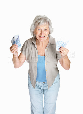 Buy stock photo Portrait of a happy senior woman holding cash in hands on white background
