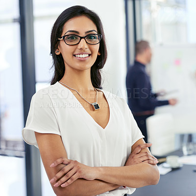 Buy stock photo Portrait of a businesswoman standing in an office