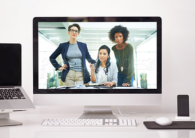 Buy stock photo Shot of a diverse team of colleagues having a video conference on a computer