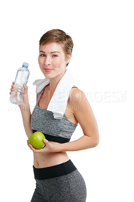 Buy stock photo Studio portrait of a fit young woman posing against a white background
