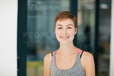 Buy stock photo Portrait of a fit young woman in workout attire