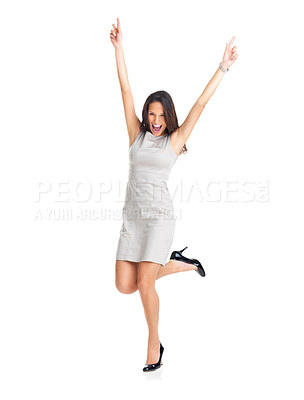 Buy stock photo Beautiful young businesswoman winning isolated on white background