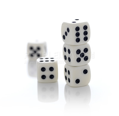Buy stock photo Five gambling dices on white background