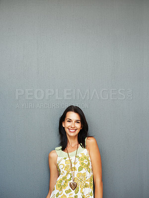 Buy stock photo Happy woman casually standing against background