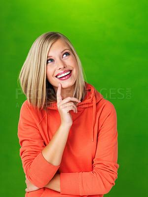 Buy stock photo Portrait of pretty woman in hooded sweatshirt looking up