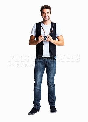 Buy stock photo Handsome casually dressed man holding old camera