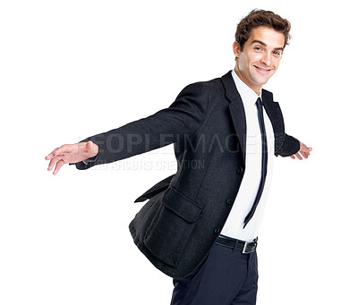 Buy stock photo Portrait of a successful young business man smiling with arms outstretched against white background