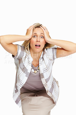 Buy stock photo Portrait of frustrated female executive holding her head on white background