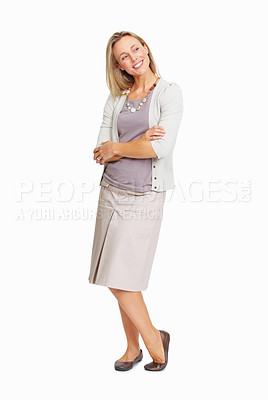 Buy stock photo Full length of beautiful business woman looking away over white background