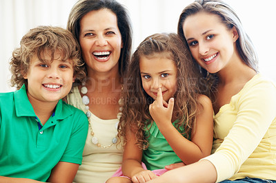 Buy stock photo Family portrait of cheerful mother with teenage daughter and kids