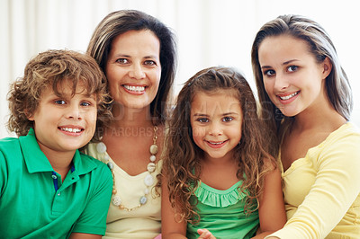 Buy stock photo Family portrait of beautiful mother with teenage daughter and kids