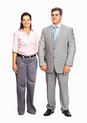 Buy stock photo Full length of successful business couple holding hands on white background