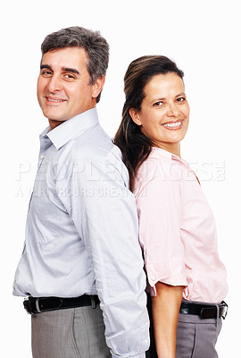 Buy stock photo Portrait of successful business couple standing back to back on white background