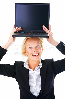 Buy stock photo Studio shot of a mature businesswoman balancing an open laptop on her head