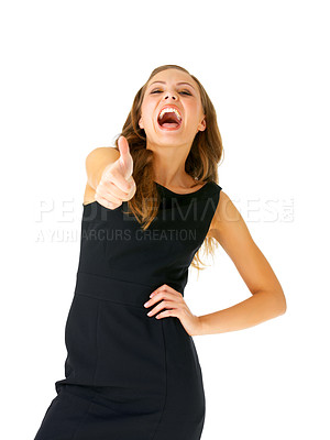 Buy stock photo Portrait of an attractive young woman giving the thumbs-up, isolated on a white background..