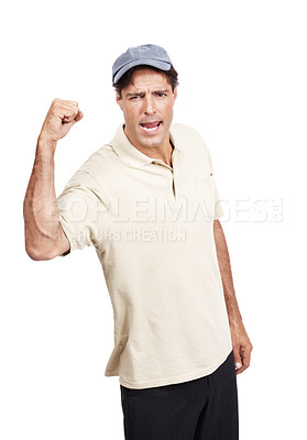 Buy stock photo Portrait of a man wearing a cap cheering against a white background