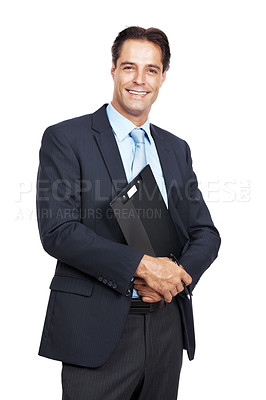 Buy stock photo Portrait of a handsome mature businessman holding a clipboard against a white background
