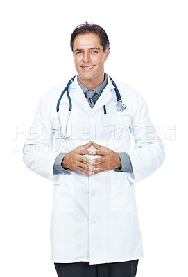Buy stock photo Portrait of a confident middle aged doctor standing isolated on white background