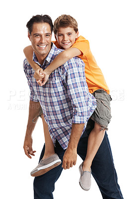 Buy stock photo Portrait of happy father carrying his cute son on back isolated against white background