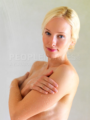 Buy stock photo Portrait of a sexy young woman taking shower