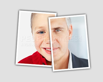 Buy stock photo Comparison pictures of a caucasian child and a middle aged caucasian man - Montage - Conceptual