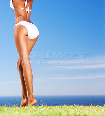 Buy stock photo Cropped rear view of an ethnic woman standing on grass